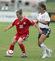 June 26, 2005; Virginia Beach, VA, USA;  Canada's Katie Thorlakson (16) holds off USWNT midfielder Shannon Boxx (7) at the Virginia Beach SportsPlex.  The USWNT won, 2-0.