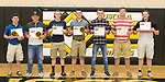 May 30, 2017- Tuscola, IL- The 2017 Tuscola Warrior Baseball award recipients. From left are Dalton Hoel (Warrior Spirit, 1st team all-conference), Andrew Erickson (MVP, Batting Average, 1st team all-conference), Tyler Mienhold (Honorable Mention all-conference), Noah Pierce, (Most Improved, 1st team all-conference), Haden Cothron  (Honorable Mention all-conference), Brayden VonLanken (2nd team all-conference), and Cole Thomas (2nd team all-conference). [Photo: Douglas Cottle]