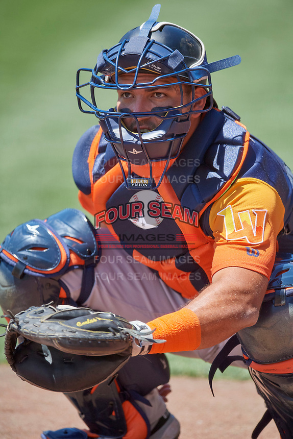 Carlos Pèrez (3) of the Las Vegas Aviators before the game against the Salt Lake Bees at Smith's Ballpark on June 27, 2021 in Salt Lake City, Utah. The Aviators defeated the Bees 5-3. (Stephen Smith/Four Seam Images)