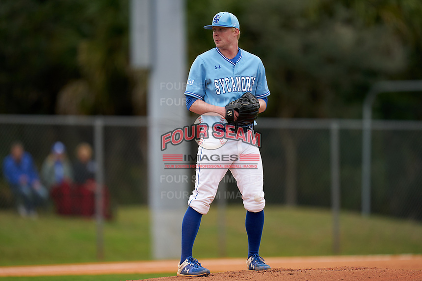 Indiana State Sycamores pitcher Tristan Weaver (22) during a game against the Dartmouth Big Green on February 21, 2020 at North Charlotte Regional Park in Port Charlotte, Florida.  Indiana State defeated Dartmouth 1-0.  (Mike Janes/Four Seam Images)