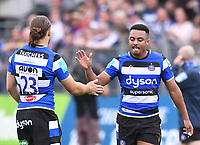 25th September 2021; The Recreation Ground, Bath, Somerset, England; Gallagher Premiership Rugby, Bath versus Newcastle Falcons; Max Clark congratulates Max Ojomoh of Bath on scoring a try