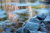 Ice breaking up in spring. Merced River. Yosemite National Park, California