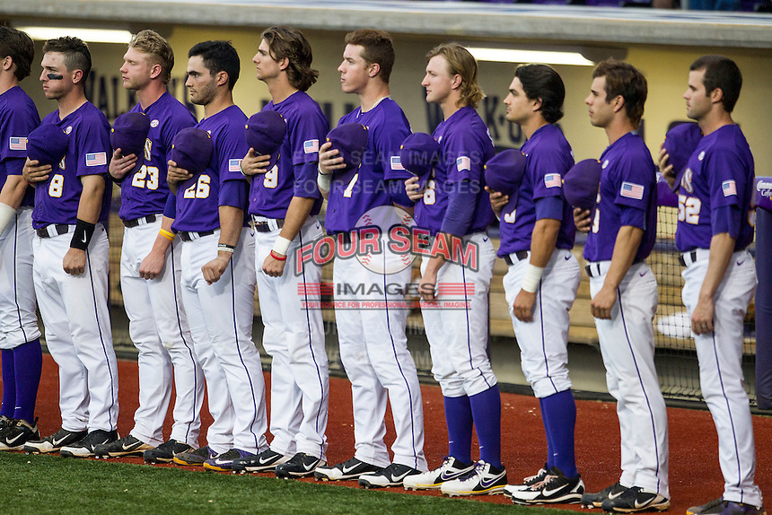 LSU Tigers line up during the National Anthem before the Southeastern Conference baseball game against the Texas A&M Aggies on April 24, 2015 at Alex Box Stadium in Baton Rouge, Louisiana. LSU defeated Texas A&M 9-6. (Andrew Woolley/Four Seam Images)