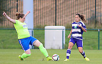 20150904 - TUBIZE , BELGIUM : Genk's Karin Stevens - Stevie Malagrida (left) pictured in a duel with Anderlecht's Solange Rodrigues Carvalhas (right) during a soccer match between the women teams of RSC Anderlecht and KRC Genk Ladies  , on the second matchday of the 2015-2016 SUPERLEAGUE season, Friday 4  September 2015 . PHOTO DAVID CATRY