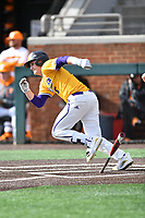 Western Illinois Adam Juran (5) runs to first base during a game against the University of Tennessee at Lindsey Nelson Stadium on February 15, 2020 in Knoxville, Tennessee. The Volunteers defeated Leathernecks 19-0. (Tony Farlow/Four Seam Images)