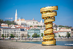 Hungary will host the Grande Partenza of Giro d'Italia 2020. This afternoon in Budapest the Trofeo Senza Fine went on a tour of the city's landmarks. 15th April 2019.<br /> Picture: Lounge Design   Cyclefile<br /> <br /> All photos usage must carry mandatory copyright credit (© Cyclefile   Lounge Design)