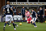 Dundee v St Johnstone…22.09.21  Dens Park.    Premier Sports Cup<br />Michael O'Halloran is fouled by Paul McGowan<br />Picture by Graeme Hart.<br />Copyright Perthshire Picture Agency<br />Tel: 01738 623350  Mobile: 07990 594431