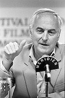 August 23, 1987 File Photo - Montreal (Qc) Canada  director James Ivory (L) <br /> at 1987 Montreal  World Film Festival.<br /> <br /> Merchant Ivory Productions is a film company founded in 1961 by producer Ismail Merchant and director James Ivory