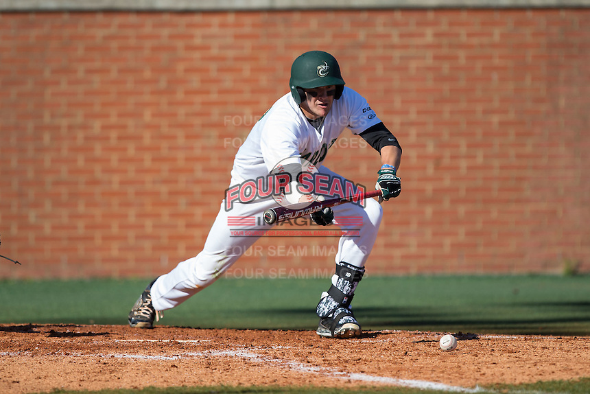 Zach Jarrett (10) of the Charlotte 49ers lays down a bunt against the Louisiana Tech Bulldogs at Hayes Stadium on March 28, 2015 in Charlotte, North Carolina.  The 49ers defeated the Bulldogs 9-5 in game two of a double header.  (Brian Westerholt/Four Seam Images)