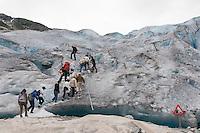 Gletscher, Gletscherwanderung, Gletscher-Wanderung, Festlandsgletscher, Eis, Nigardsbreen, Nigardbreen, Jostedalsbreen, Jostetal, Jostedalsbreen-Nationalpark, Nationalpark, Norwegen. Nigardsbreen, Jostedalsbreen glacier, glacier hike, Glacier walk, Jostedal Glacier, glacier, ice, Norway