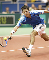 23-2-06, Netherlands, tennis, Rotterdam, ABNAMROWTT, Tim Henman in action against Novak Djokovic