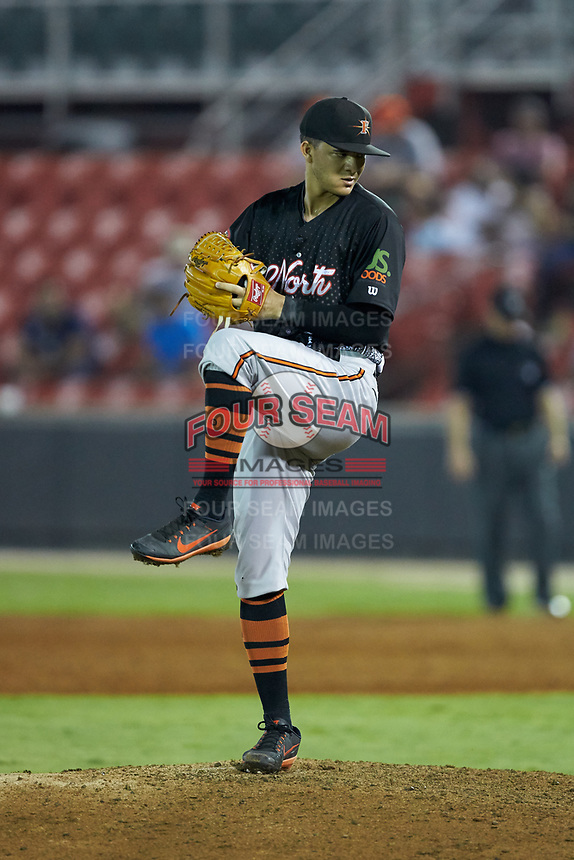North Division pitcher Cristian Alverado (37) of the Frederick Keys in action during the 2018 Carolina League All-Star Classic at Five County Stadium on June 19, 2018 in Zebulon, North Carolina. The South All-Stars defeated the North All-Stars 7-6.  (Brian Westerholt/Four Seam Images)
