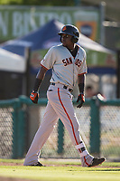 San Jose Giants first baseman Frandy De La Rosa (43) retreats to first base after hitting a single during a California League game against the Modesto Nuts at John Thurman Field on May 9, 2018 in Modesto, California. San Jose defeated Modesto 9-5. (Zachary Lucy/Four Seam Images)