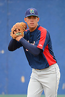 Cedar Rapids Kernels pitcher J.O. Berrios #44 throws during practice before a game against the Beloit Snappers on May 23, 2013 at Pohlman Field in Beloit, Wisconsin.  Beloit defeated Cedar Rapids 5-3.  (Mike Janes/Four Seam Images)