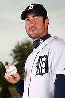 February 27, 2010:  Pitcher Justin Verlander (35) of the Detroit Tigers poses for a photo during media day at Joker Marchant Stadium in Lakeland, FL.  Photo By Mike Janes/Four Seam Images