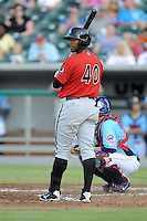 Birmingham Barons left fielder Brandon Jacobs #40 looks for the signals during game three of the Southern League Northern Division Championship Series against the Tennessee Smokies at Smokies Park on September 7, 2013 in Kodak, Tennessee. The Smokies won the game 9-2. (Tony Farlow/Four Seam Images)
