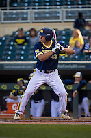 Carmen Benedetti (43) of the Michigan Wolverines bats during a 2015 Big Ten Conference Tournament game between the Iowa Hawkeyes and Michigan Wolverines at Target Field on May 20, 2015 in Minneapolis, Minnesota. (Brace Hemmelgarn/Four Seam Images)