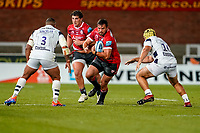 21st August 2020; Kingsholm Stadium, Gloucester, Gloucestershire, England; English Premiership Rugby, Gloucester versus Bristol Bears; Franco Marais of Gloucester gets ready for the contact tackle from Kyle Sinckler of Bristol