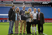 Sunil Gulati, President of US Soccer, honors defender (4) Cat Whitehill and her family in honor of Whitehill's 100th cap prior to USA Women's National Team defeating Mexico 5-0 in an international friendly at Gillette Stadium, Foxbourgh, MA, on April 14, 2007.