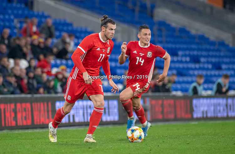 Cardiff - UK - 9th September :<br />Wales v Belarus Friendly match at Cardiff City Stadium.<br />Gareth Bale of Wales alongside Connor Roberts.<br />Editorial use only
