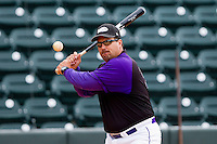 Winston-Salem Dash manager Julio Vinas #38 hits ground balls during infield practice at BB&T Ballpark on May 7, 2011 in Winston-Salem, North Carolina.   Photo by Brian Westerholt / Four Seam Images