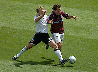 Bryan Namoff (white), Nick LaBrocca (red). The Colorado Rapids defeated D.C. United 2-0. Dick's Sporting Goods Park, Denver, Colorado. May 4, 2008.