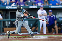 Vanderbilt Commodores designated hitter Ro Coleman (1) swings the bat during the NCAA College baseball World Series against the TCU Horned Frogs on June 16, 2015 at TD Ameritrade Park in Omaha, Nebraska. Vanderbilt defeated TCU 1-0. (Andrew Woolley/Four Seam Images)