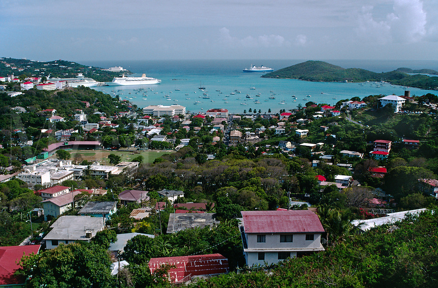 AMELIA BAY with SAIL BOATS - ST. THOMAS ISLAND, U.S. VIRGIN ISLANDS, CARIBBEAN
