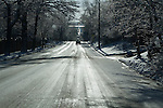Snowy road, Boulder, Colorado, USA