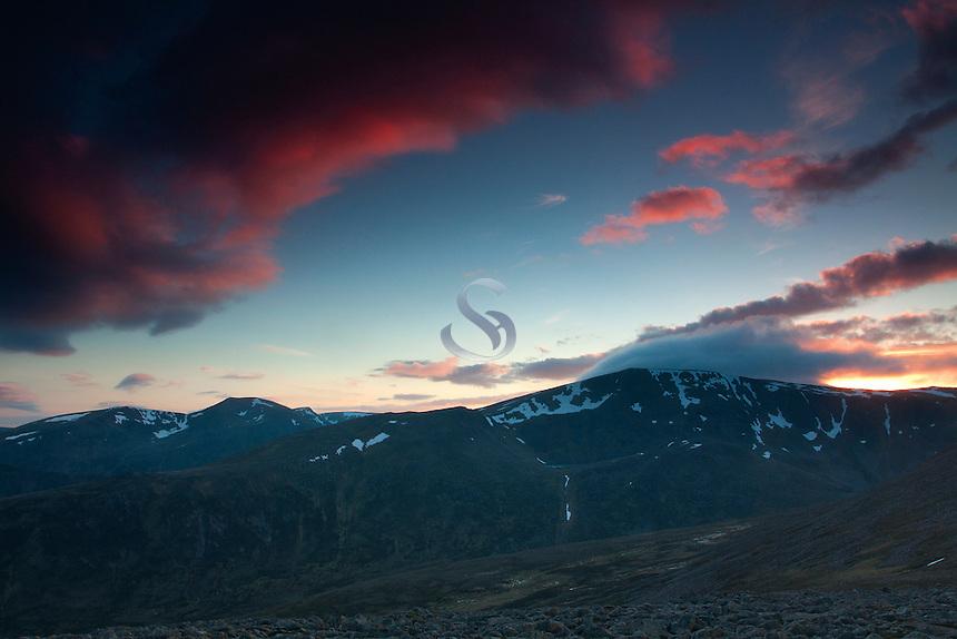 Ben MacDui from Derry Cairngorm at dusk, Cairngorms National Park, Aberdeenshire