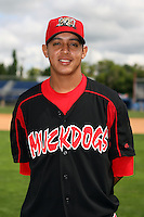 August 26 2008:  Pitcher Arquimedes Nieto of the Batavia Muckdogs, Class-A affiliate of the St. Louis Cardinals, during a game at Dwyer Stadium in Batavia, NY.  Photo by:  Mike Janes/Four Seam Images