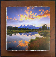 """Teton Sunset - Mixed Media - Wyoming<br /> <br /> Each unique piece is made to order. If I have the piece in stock I can ship it in 2-3 days. If I don't have it in stock and it has to be made, it will ship in 1-2 weeks. Feel free to contact me at chey.rouse@gmail.com before you order if you need the piece ASAP. <br /> <br /> The photograph is printed on a Silk photo paper, the edges of the photo are torn, photo is mounted to foam board, then I mount it to an 8""""x8"""" piece of rusted metal. The rust is unique on each piece...no two pieces are alike. PLEASE keep in mind that the rust on the piece(s) you receive may be slightly different than the photo. Each piece of metal is sealed after it is done """"rusting"""" and is titled, hand signed and, ready to hang. To see the detail for theses Mixed Media pieces please click on the 1st photo in this gallery. You will be able to see the detail of the torn paper edge as well as the back of the piece. Just click on the piece that you like in this Gallery and then click the GREEN """"BUY"""" button in the left hand corner to add it to your cart."""
