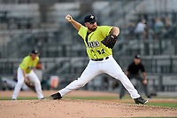 Relief pitcher Matt Pobereyko (32) of the Columbia Fireflies delivers a pitch in a game against the Rome Braves on Sunday, August 20, 2017, at Spirit Communications Park in Columbia, South Carolina. Rome won, 11-6 in 16 innings. (Tom Priddy/Four Seam Images)