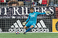 FOXBOROUGH, MA - AUGUST 25: Matt Turner #30 of New England Revolution goal kick during a game between Chicago Fire and New England Revolution at Gillette Stadium on August 24, 2019 in Foxborough, Massachusetts.