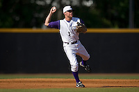Shortstop Greg Paiml #3 of the Winston-Salem Dash makes an off-balance throw to first base at Wake Forest Baseball Park May 10, 2009 in Winston-Salem, North Carolina. (Photo by Brian Westerholt / Four Seam Images)
