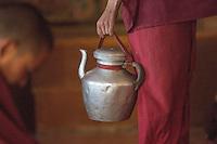 Serving Yak Butter tea at Thiksey Monastery near Leh, Ladakh