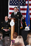 Carson City Fire Chief Bob Schreihans speaks at his badge-pinning ceremony at Station 51 in Carson City, Nev., on Tuesday, Feb. 3, 2015. Schreihans, who is the fifth paid chief in the history of the department, has been with CCFD for nearly 31 years. Assistant Chief Tom Tarulli, left, served as emcee for the ceremony which drew about 125 people. <br /> Photo by Cathleen Allison/Nevada Photo Source