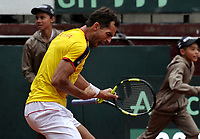BOGOTA - COLOMBIA – 15 – 09 -2019: Santiago Giraldo de Colombia celebra el punto ganado a Franko Skugor de Croacia, durante partido de la Copa Davis entre los equipos de Colombia y Croacia, partidos por el ascenso al Grupo Mundial de Copa Davis por BNP Paribas, en la Plaza de Toros La Santamaria en la ciudad de Bogota. / Santiago Giraldo of Colombia celebrates the winer point to Franko Skugor of Croatia,  during a Davis Cup match between the teams of Colombia and Croatia, match promoted to the World Group Davis Cup by BNP Paribas, at the La Santamaria Ring Bull in Bogota city. / Photo: VizzorImage / Luis Ramirez / Staff.