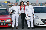 Lara Alvarez, Jesus Castro and Fernando Guillen Cuervo during the presentation of new Peugeot 208 GTI at Jarama Circuit in Madrid, Spain. January 20 2015. (ALTERPHOTOS/Carlos Dafonte)