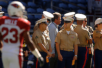 Sep 25, 2005; Seattle, WA, USA; US Marines observe pre-game warmups during military appreciation day at the Seattle Seahawks against the Arizona Cardinals at Qwest Field. Mandatory Credit: Photo By Mark J. Rebilas