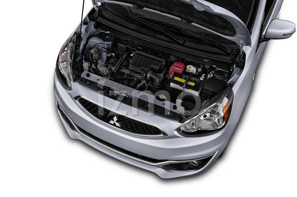 Car Stock 2018 Mitsubishi Mirage SE 5 Door Hatchback Engine  high angle detail view