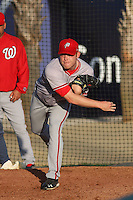 Potomac Nationals pitcher Paul Demny (#43) warming up before a game vs. Myrtle Beach Pelicans at BB&T Coastal Field in Myrtle Beach, SC on April 25, 2011. Photo By Robert Gurganus/Four Seam Images