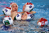 Dorottya Szilagy of Hungary and Krisztina Garda of Hungary  celebrate the victory of the semi final and the qualification to Tokyo 2020 Olympic games <br /> Hungary HUN Vs Italy ITA <br /> Semifinal 1st-4th place <br /> Trieste (Italy) 23/01/2021 Bruno Bianchi Aquatic Center <br /> Fina Women's Water Polo Olympic Games Qualification Tournament 2021 <br /> Photo Andrea Staccioli / Deepbluemedia / Insidefoto