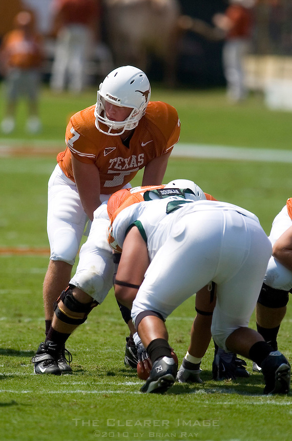 02 September 2006: University of Texas quarterback Jevan Snead audibles to his teammates during the Longhorns 56-7 victory over the University of North Texas at Darrell K Royal Stadium in Austin, TX.
