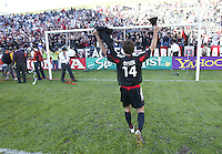 14 November 2004: Ben Olsen of DC United celebrates with the fans after DC United defeated Kansas City Wizards, 3-2 at Home Depot Center in Carson, California...Mandatory Credit: Michael Pimentel / www.internationalsportsimages.com..
