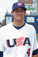 Brad Miller #4 of Team USA at Durham Bulls Athletic Park July 18, 2010, in Durham, North Carolina.  Photo by Brian Westerholt / Four Seam Images