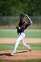 Ty Collins during the WWBA World Championship at the Roger Dean Complex on October 18, 2018 in Jupiter, Florida.  Ty Collins is a right handed pitcher from Los Angeles, California who attends St. John Bosco High School.  (Mike Janes/Four Seam Images)