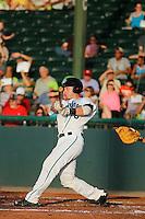 Daytona Tortugas catcher Joe Hudson (8) at bat during a game against the Tampa Yankees at Radiology Associates Field at Jackie Robinson Ballpark on June 13, 2015 in Daytona, Florida. Tampa defeated Daytona 8-6. (Robert Gurganus/Four Seam Images)