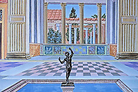 Artists color representation of the House of the Faun, Pompeii Italy, 425 BCE - 79 CE