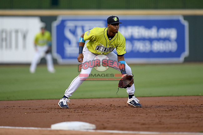 Third baseman Shervyen Newton (3) of the Columbia Fireflies plays defense in a game against the Hickory Crawdads on Wednesday, August 28, 2019, at Segra Park in Columbia, South Carolina. Hickory won, 7-0. (Tom Priddy/Four Seam Images)